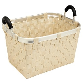 Woven Strap Large Tote With Aluminum Handles