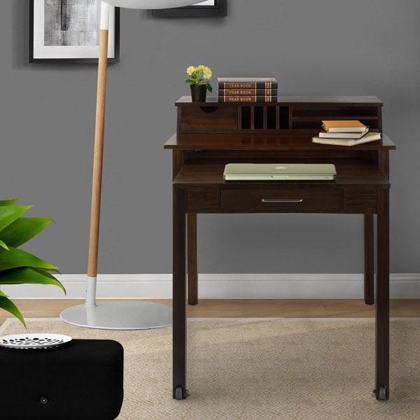 Solid Wood Roll Out Desk With Hutch Overstock Shopping