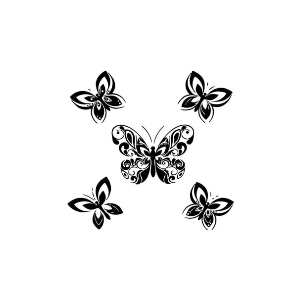 Set of Five Butterflies Vinyl Wall Art