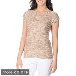 Yal New York Women's Short Sleeve Knit Sweater Top