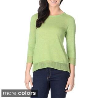 Yal New York Women's Lightweight Metallic-knit Sweater