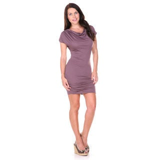 Stanzino Women's Brown Cowl Neck Stretch Mini Dress