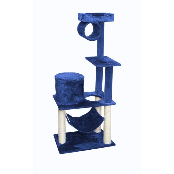 OxGord Blue/ White 55-inch Cat Tree Tower Condo Scratching Furniture