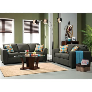 Bursa 2-piece Living Room Set with Free Pillows in Grey Fabric