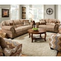 Paide Living Room Set with Pillows in Beige and Light Brown Fabric