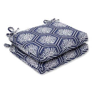 Pillow Perfect Squared Corners Seat Cushion with Bella-Dura Seascape Navy Fabric (Set of 2)