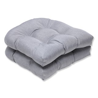 Pillow Perfect Wicker Seat Cushion with Grey Sunbrella Fabric (Set of 2)