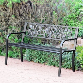 "50""L Flowers Curved Back Steel Park Bench"