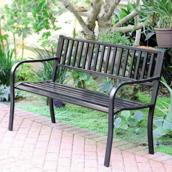 50 inch Long Strap Curved Back Steel Park Bench 13092485