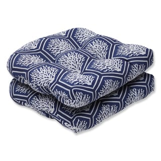 Pillow Perfect Wicker Seat Cushion with Bella-Dura Seascape Navy Fabric (Set of 2)