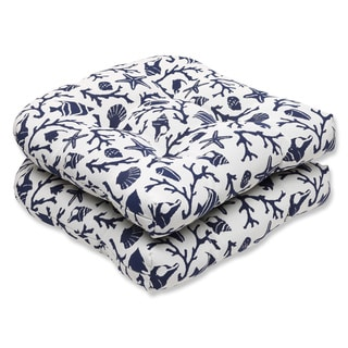 Pillow Perfect Wicker Seat Cushion with Bella-Dura Sanibel Navy Fabric (Set of 2)