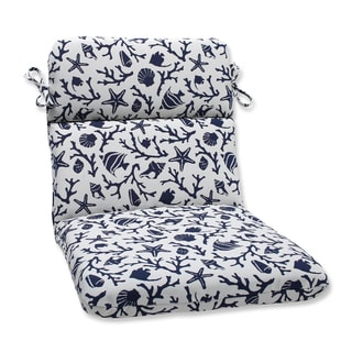 Pillow Perfect Rounded Corners Chair Cushion with Bella-Dura Sanibel Navy Fabric