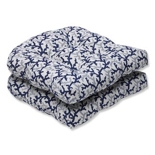 Pillow Perfect Wicker Seat Cushion with Bella-Dura Andros Navy Fabric Fabric (Set of 2)