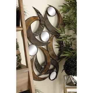 Contemporary 40 x 24 Inch Metal and Mirror Wall Plaque by Studio 350