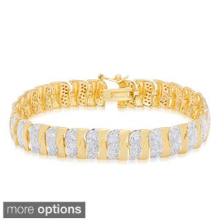 Finesque Gold Over Silver 2 4/5 ct TDW Diamond Stripe Bracelet (I-J, I2-I3)