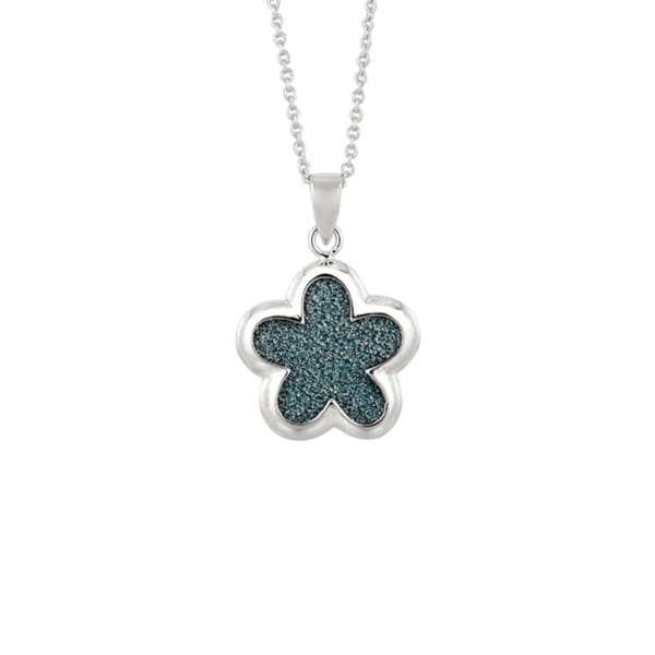 Silver Rhodium-plated Brass Blue Glitter Flower Pendant Necklace