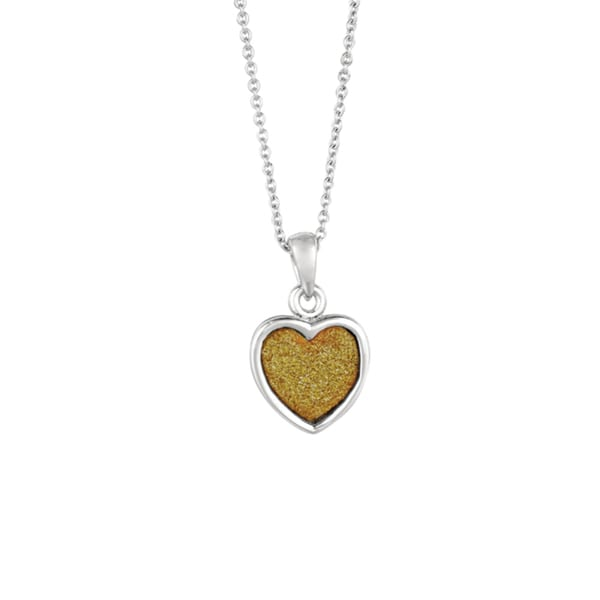 Silver Rhodium-plated Brass Gold Glitter Heart Pendant Necklace