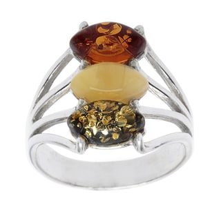 Sterling Silver Beautiful Tri-colored Amber Ring