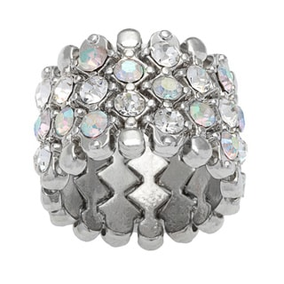 Silvertone Metal Cubic Zirconia Stretch Ring