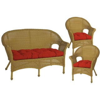 All-weather Outdoor Tangerine Red Wicker Chair and Love Seat Cushion Set of 3