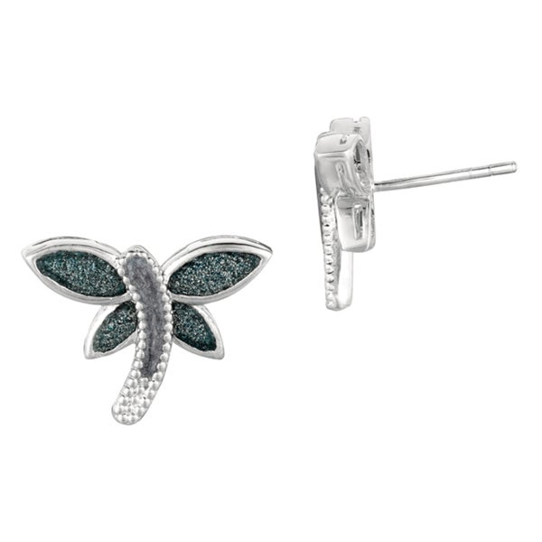 Silver Rhodium-plated Brass Blue Glitter Dragonfly Stud Earrings
