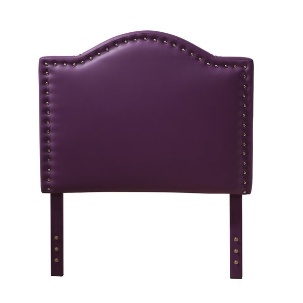 Twin-size Purple Nail Head Accent Headboard