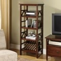 Linon Titian Brown Wood TV Tower Bookcase