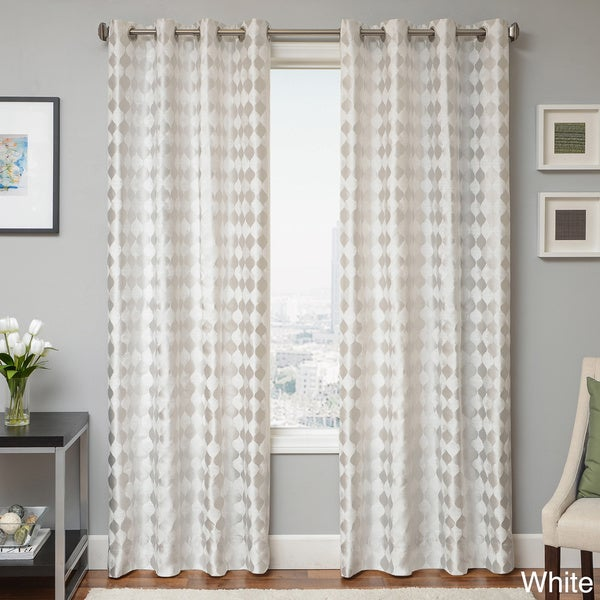 Peyton Woven Jacquard Grommet Top Curtain Panel