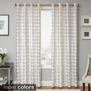 Peyton Woven Jacquard Grommet Top Curtain Panel