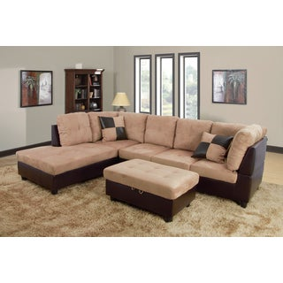 Delima Light Brown Microsuede 3-piece Sectional Set