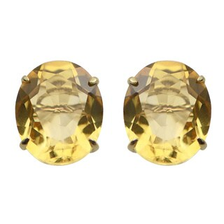 Gems For You 14k Yellow Gold Citrine Stud Earrings