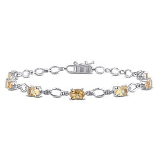 Miadora Sterling Silver 3 1/6ct TGW Citrine and Diamond Accent Bracelet