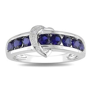 Miadora 10k White Gold Created Blue Sapphire and Diamond Accent Ring