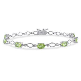 Miadora Sterling Silver 3 2/5ct TGW Peridot and Diamond Accent Bracelet