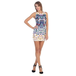 Hadari Women's Blue and Cream Floral Sleeveless Dress