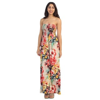 Hadari Women's Multi-colored Floral Print Smocked Maxi Dr