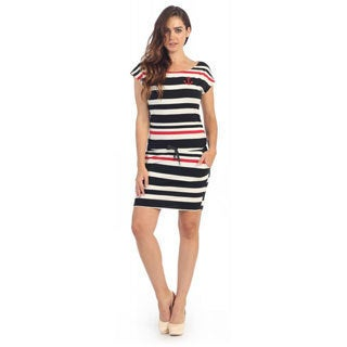 Hadari Women's Casual Nautical Stripped Shirt Dress