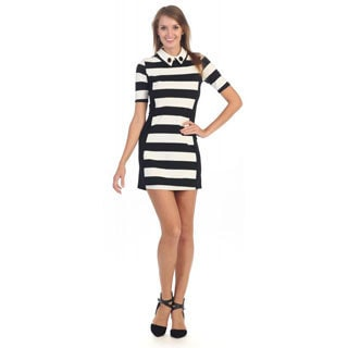 Hadari Women's Black and White Stripe Collared Dress