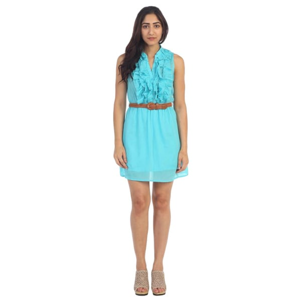 Hadari Women's Turquoise Woven Belted Sheath Dress
