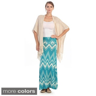 Hadari Women's Jade and White Zig-zag Maxi Skirt