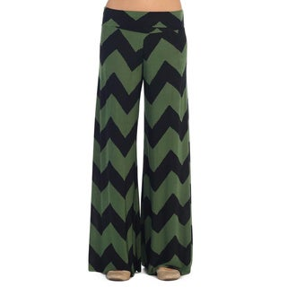 Hadari Women's Olive and Black Chevron Palazzo Pants
