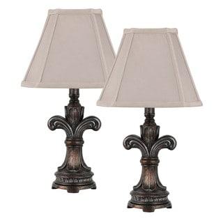 Cal Lighting Fleur-de-lis Antique Bronze Accent Lamp (Set of 2)