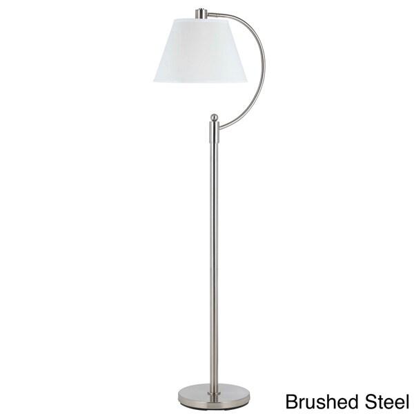 arc floor lamp brushed steel cal lighting kinder metal arc floor lamp. Black Bedroom Furniture Sets. Home Design Ideas