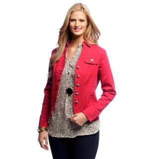 Women's Red Seam Split Collar Jacket