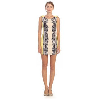 Hadari Women's Beige and Yellow Arabesque Sheath Dress