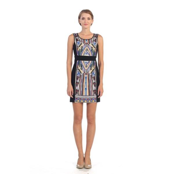 Hadari Women's Black and Blue Tribal Sheath Dress
