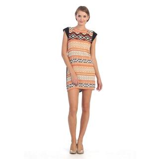Hadari Women's Orange/ Black Tribal Cap-sleeve Dress