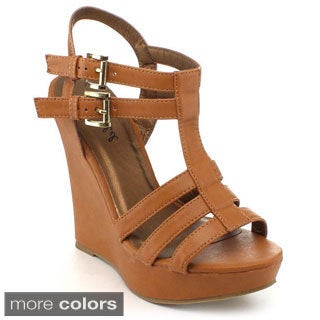 BONNIBEL KRIDDY-1 Women's Double Ankle Straps Wedge Sandals
