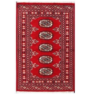 Herat Oriental Pakistani Hand-knotted Tribal Bokhara Red/ Black Wool Rug (1'11 x 3')