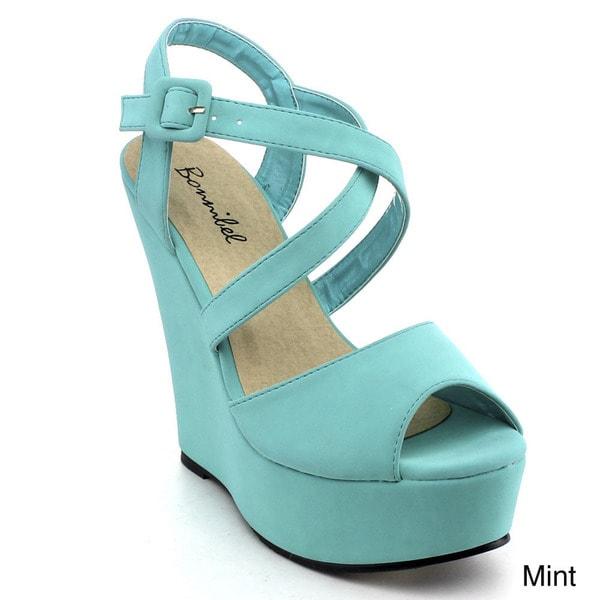 BONNIBEL FRAN-2 Women's Criss Cross Ankle Strap Wedge Sandals